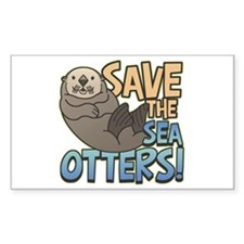 Save Sea Otters Rectangle Decal