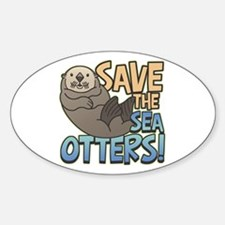 Save Sea Otters Oval Decal