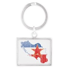 Yugoslavia Flag and Map Wood Landscape Keychain