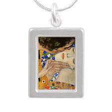 Klimt Silver Portrait Necklace