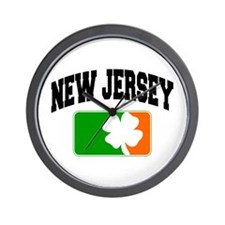 New Jersey Shamrock Wall Clock