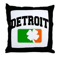 Detroit Shamrock Throw Pillow