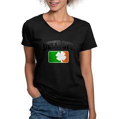 Detroit Shamrock Women's V-Neck Dark T-Shirt