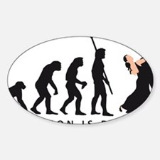 evolution dancing couple Sticker (Oval)