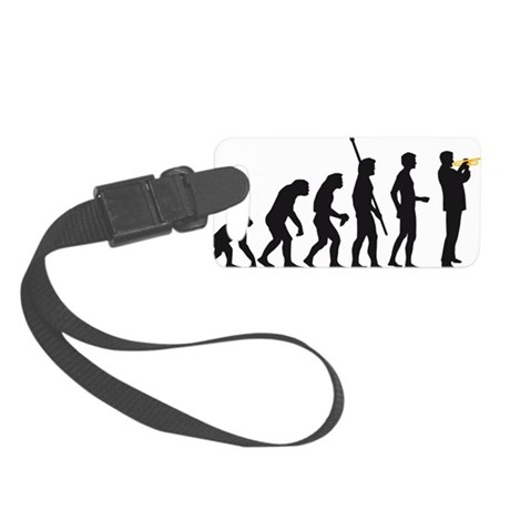 evolution trumpet player Small Luggage Tag