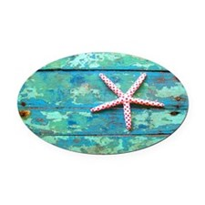 Starfish on Turquoise Table Shoudl Oval Car Magnet