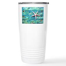 Starfish on Turquoise Table Sho Travel Mug