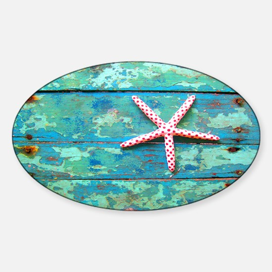 Starfish on Turquoise Table Shoudle Sticker (Oval)