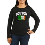 Boston Shamrock Women's Long Sleeve Dark T-Shirt