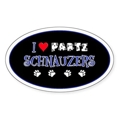 I Love Parti Schnauzers 2.0 Oval Sticker
