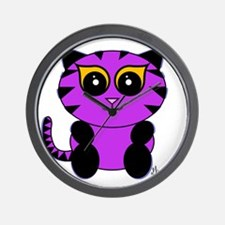 Purple Kitty Wall Clock