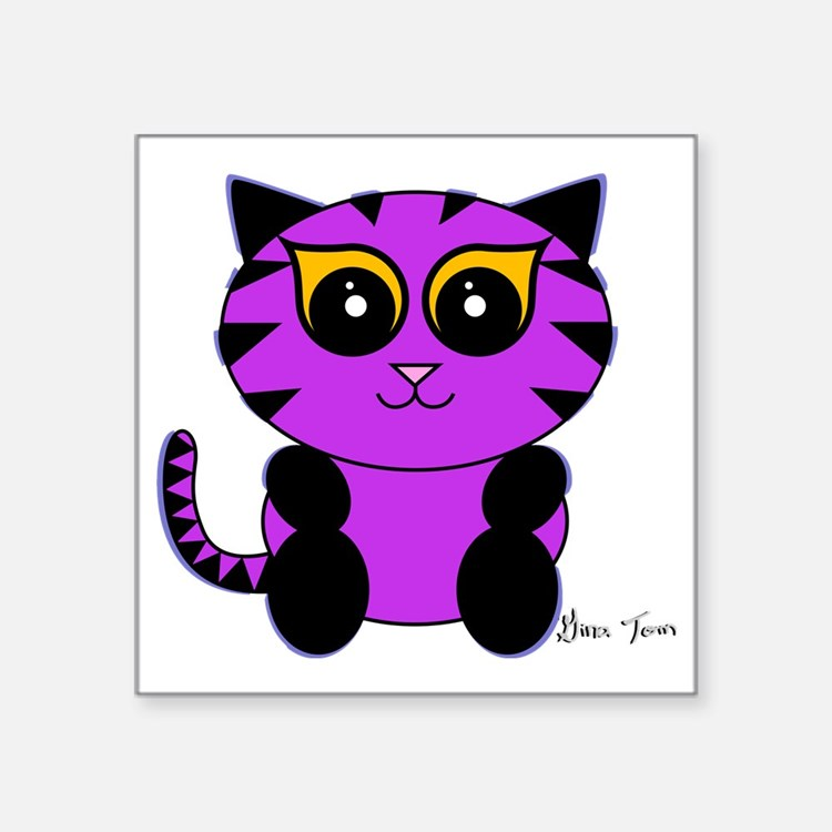 "Purple Kitty Square Sticker 3"" x 3"""
