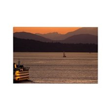 Puget Sound at Sunset Rectangle Magnet