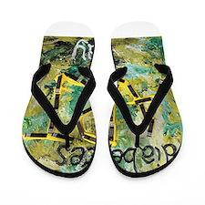 Diabetes Art Day - White Print Flip Flops