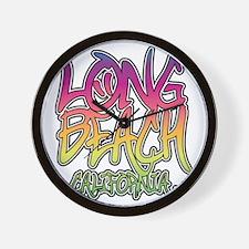 Long Beach Graffiti W Wall Clock