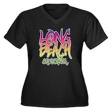 Long Beach G Women's Plus Size Dark V-Neck T-Shirt