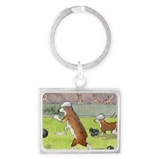 Bowls on the green Landscape Keychain