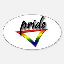 Gay Pride Triangle Oval Decal