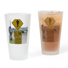 SLOW  GEEZER CROSSING Drinking Glass