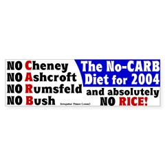 No Carb No Rice Bumper Bumper Sticker