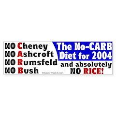 No Carb No Rice Bumper Bumper Sticker