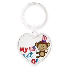 Monkey My First 4th of July Heart Keychain