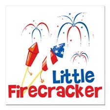 """4th of July Little Firec Square Car Magnet 3"""" x 3"""""""