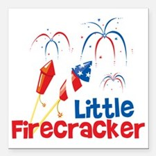 "4th of July Little Firec Square Car Magnet 3"" x 3"""