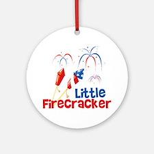 4th of July Little Firecracker Round Ornament