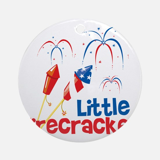 4th of July Little Firecracker Round Ornament