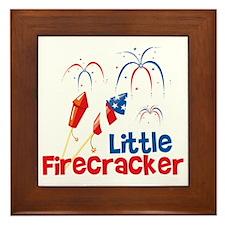 4th of July Little Firecracker Framed Tile