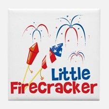 4th of July Little Firecracker Tile Coaster