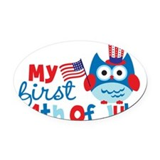 Owl My First 4th of July Oval Car Magnet