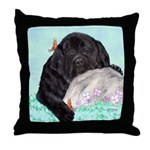 Sleepy Newfoundland Puppy Throw Pillow
