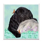 Sleepy Newfoundland Puppy Tile Coaster