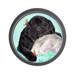 Sleepy Newfoundland Puppy Wall Clock