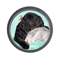Sleepy Newfoundland Puppy Wall Clock