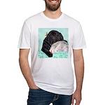 Sleepy Newfoundland Puppy Fitted T-Shirt