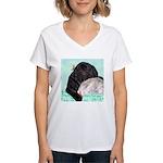 Sleepy Newfoundland Puppy Women's V-Neck T-Shirt