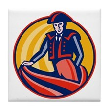 Matador Bullfighter Cape Retro Tile Coaster