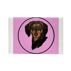 Dachshund & Floral design Rectangle Magnet (10 pac
