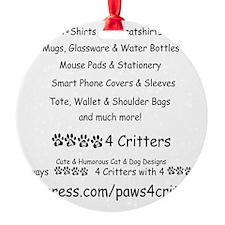 Paws4Critters TShirt Backside Ornament