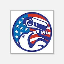 "American Bald eagle Securit Square Sticker 3"" x 3"""