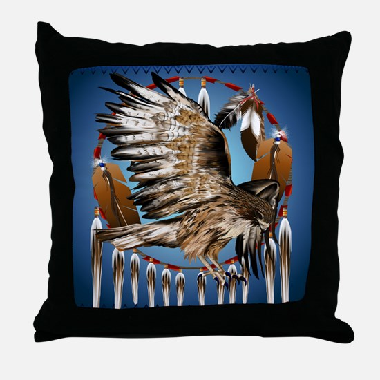 Dream Catcher Hawk Throw Pillow