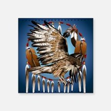 "Dream Catcher Hawk Square Sticker 3"" x 3"""