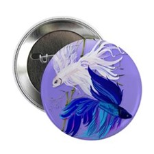 """Blue and White Siamese Fighting Fish 2.25"""" Button"""