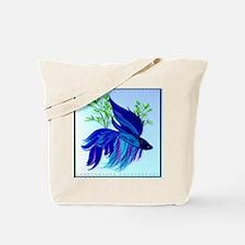 Big Blue Siamese Fighting Fish Tote Bag