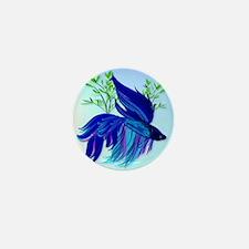 Big Blue Siamese Fighting Fish Mini Button