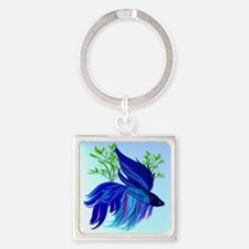 Big Blue Siamese Fighting Fish Square Keychain