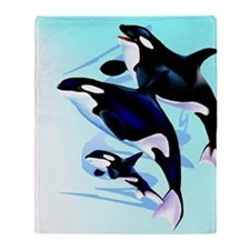 Orca  Family Throw Blanket